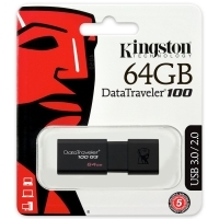USB памет 64GB Kingston DataTraveler 100 G3, USB 3.0 , Черен