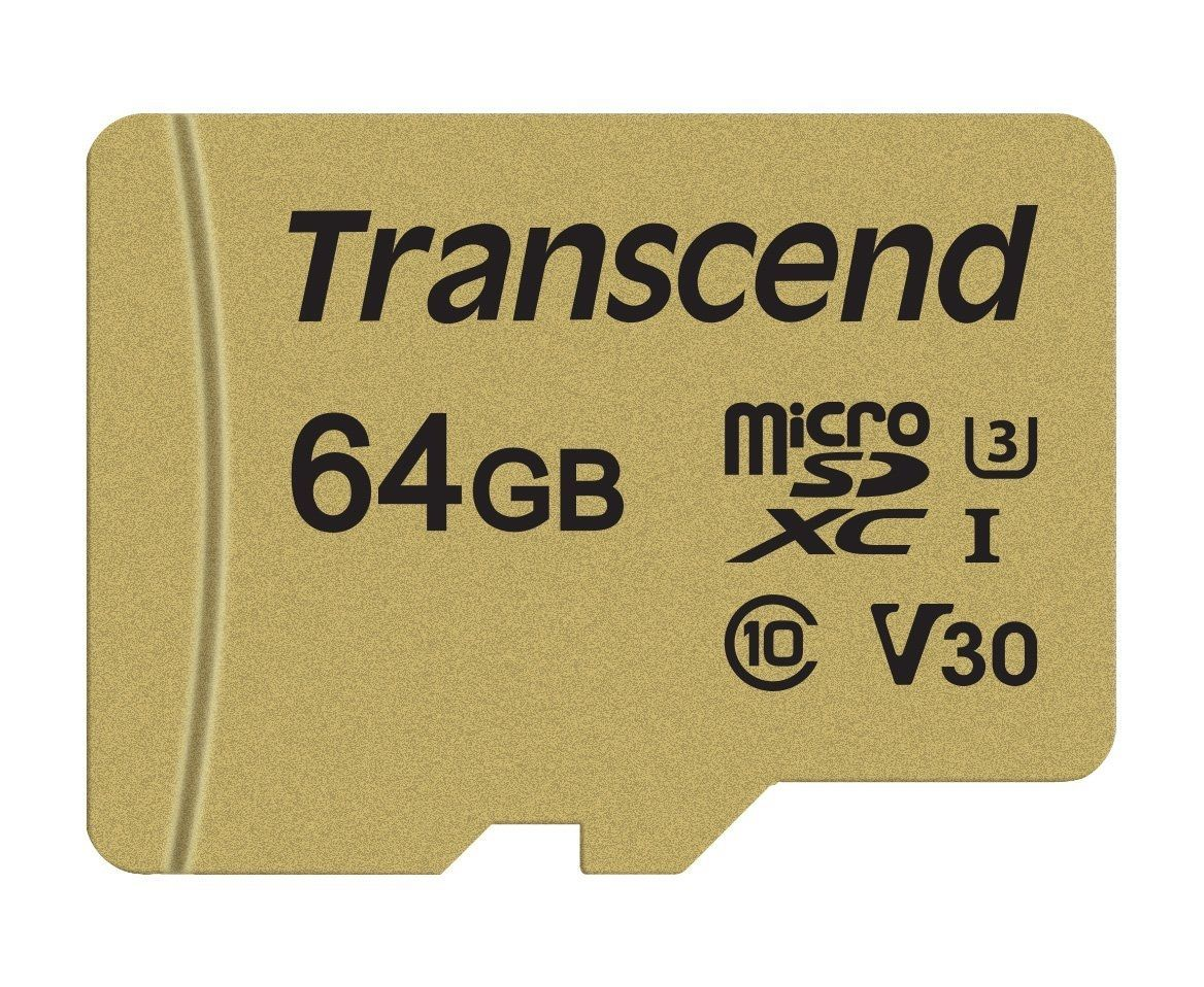 Памет Transcend 64GB microSDXC I, Class 10, U3, V30, MLC with Adapter, read: up to 95MBs, 60MB/s
