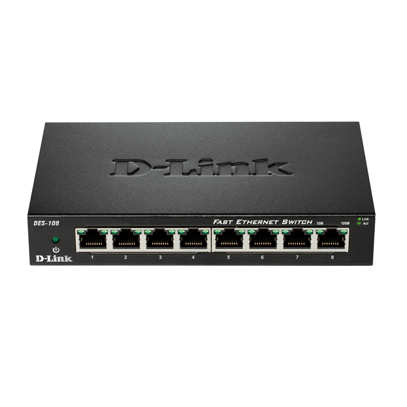 Суич D-link DES-108E 8-Port  10/100 Fast Ethernet Metal Housing Unmanaged Switch