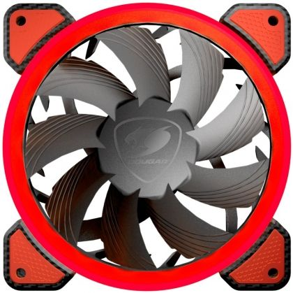 Охладител за кутия COUGAR Vortex FR 120 red LED, Cooling fan, Hydraulic Bearing, Speed 1200 R.P.M, Air Flow 36.72 CFM 62.36 m3/h, Dimensions 120 x 120 x 25mm