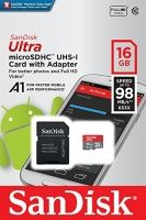 SanDisk Ultra Android microSDHC 16GB + SD Adapter + Memory Zone App 98MB/s A1 Class 10 UHS-I; EAN: 619659161347
