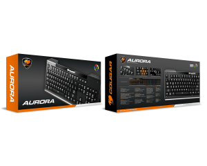 COUGAR Aurora Gaming Keyboard, Membrane switches,8 Color backlight, 19 Anti-ghosting keys,Carbonlike Surface,Weight 750g, 180(L) X 450(W) X 25(H) mm