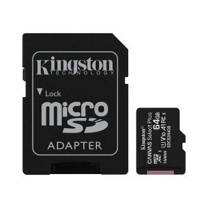 MicroSD памет Kingston 64GB Canvas Select Plus, microSDXC Class 10 UHS-I 100MB/s Read Card + SD Адаптер