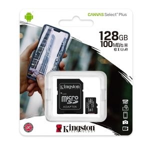 MicroSD памет Kingston 128GB Canvas Select Plus, microSDXC Class 10 UHS-I 100MB/s Read Card + SD Адаптер