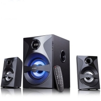 Multimedia Bluetooth Speakers F&D F380X (2.1 Channel Surround, 54W, 110Hz-20KHz, Subwoofer: 30-118Hz, Bluetooth 4.0, NFC, USB/SD card reader, FM digital, LED display, Remote control, Wooden, Black