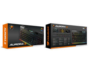 COUGAR Aurora S Gaming Keyboard, Membrane switches,RGB backlight, 19 Anti-ghosting keys,Carbonlike Surface,Weight 750g, 180(L) X 450(W) X 25(H) mm